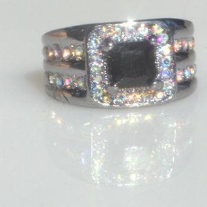 Black Sapphire 18K Gold Fill Size 6 Ring Rainbow